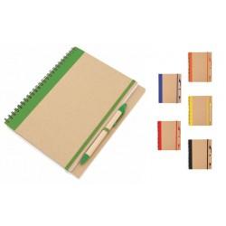 Cahier bloc notes et stylo en carton recyclé
